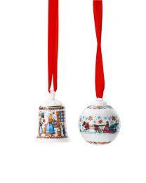 Hutschenreuther Set Minikugel + Miniglocke 2020 Weihnachtsbäckerei limitiert