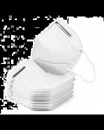 10 Stck. Atemschutzmaske nach KN95, weiß mit Ohrschleifen, ohne Ventil, 2 x 5 Stück im Polybag