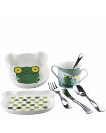 Sambonet Kindergeschirr-Set Kids Froggy mit Besteck 7-tlg.