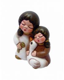 THUN Klassische Krippe Kinderpaar mit Gans bianco